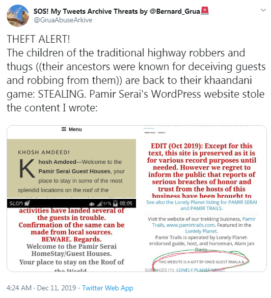Rmala Aalam, from Rmala's Projects, sends a theft alert on social media saying her creation was stolen, while she attaches a screen capture explicitly disclosing her work was a GIFT to the guest house.